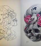 Amazing Design for Wrist Bird Skull Tattoo: Sketch (Left) And Complete (Right)