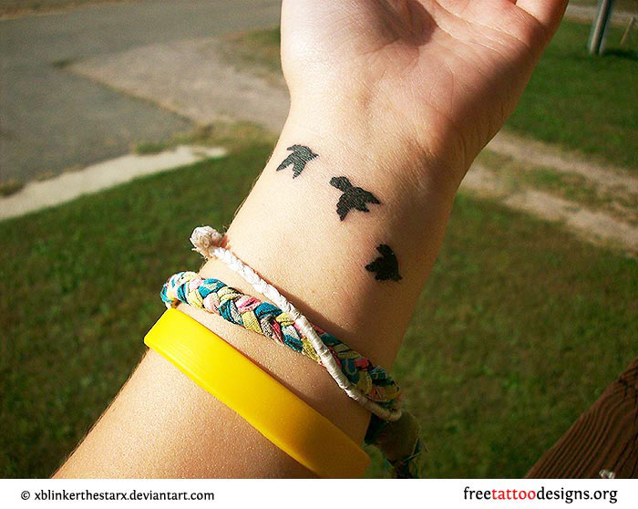Birds Silhouette Wrist Tattoo