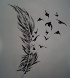Beautiful Bird of a Feather Tattoo Design Sketch