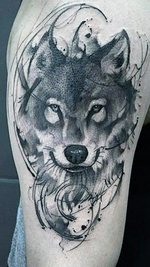 black-and-grey-wolf-tattoo