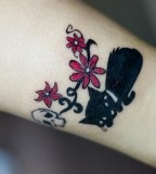 Flowers with Black Cat Tattoo