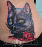 Black Cat Bite Rose Tattoo