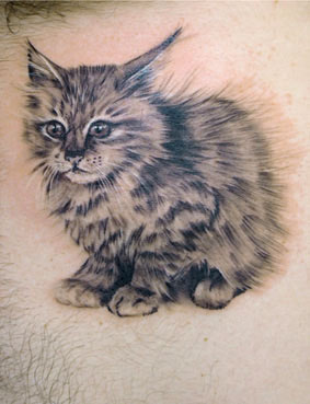 Hairy Kitty Tattoo Design