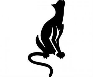 Simple Black Cat Sketch for Tattoo Design