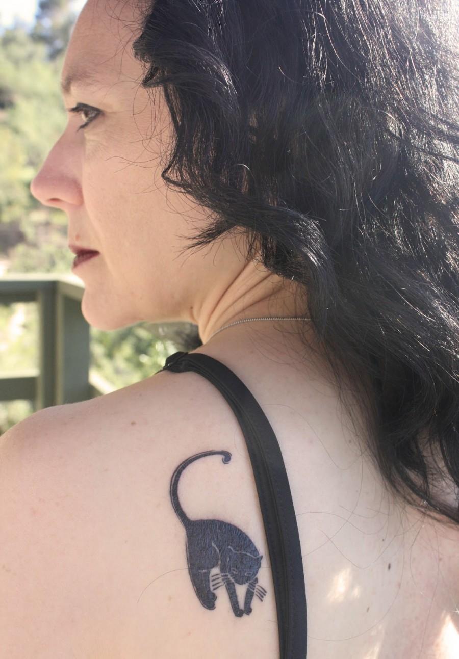 Black Cat Shoulder Tattoo in Appreciation Day