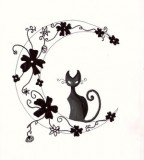 Vector Cat Tattoo Design
