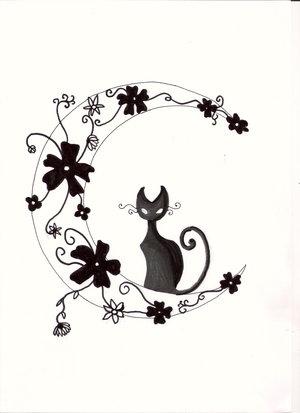 Vector Cat Tattoo Design