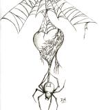Black Widow Spider Webs And Heart Art Tattoo