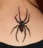 Cute Black Widow Back Neck Tattoos For Girls