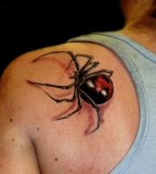 Cool 3D Black Widow Tattoo on Back Shoulder