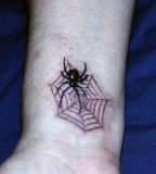 Black Widow Spider Web Wrist Tattoo