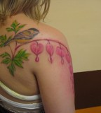 Bird With Bleeding Heart and Flower Tattoos for Girl