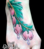 Awesome Bleeding Heart Flowers Tattoo for Leg