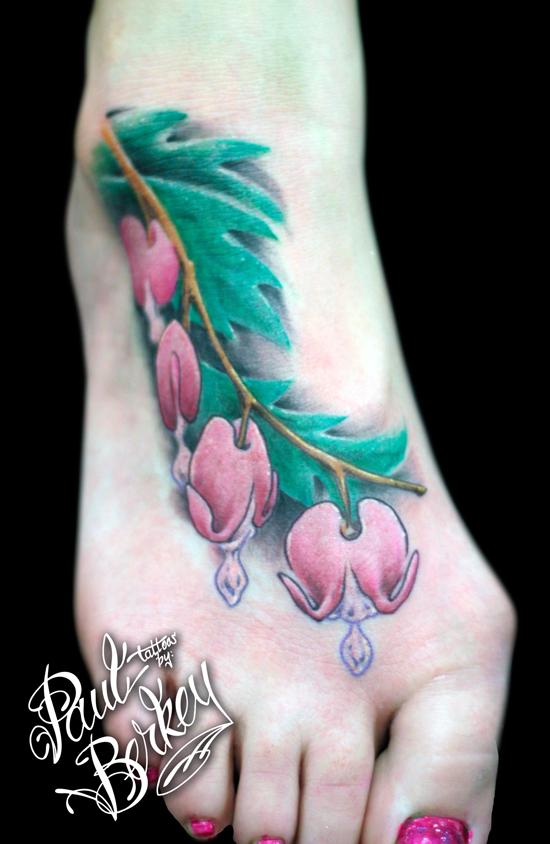 Awesome Bleeding Heart Flowers Tattoo for Leg ...
