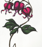 Bleeding Heart Flowers Heart Sketch Tattoo for Men and Women