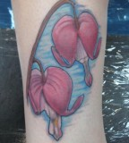 Red and Blue Bleeding Heart Flowers Tattoo for Women