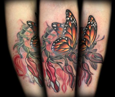 Bleeding Hearts And Monarch Butterfly Memorial Tattoo Tattoos