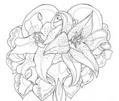Bleeding Heart and Flower Tattoo Sketch for Men or Women