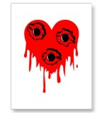 Bullet Hole Bleeding Heart Tattoo Postcards