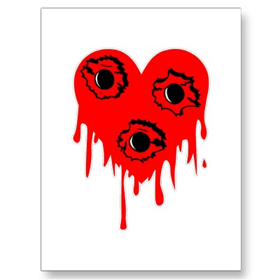 Bullet Hole Bleeding Heart Tattoo Postcards
