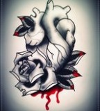 Bleeding Heart With Rose Tattoo for Men and Women
