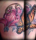 Dagger Bleeding Flower and Butterfly Tattoos for Men and Women