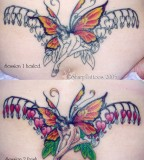 Sharptattoos Bleeding Butterfly and Flower Tattoo for Women