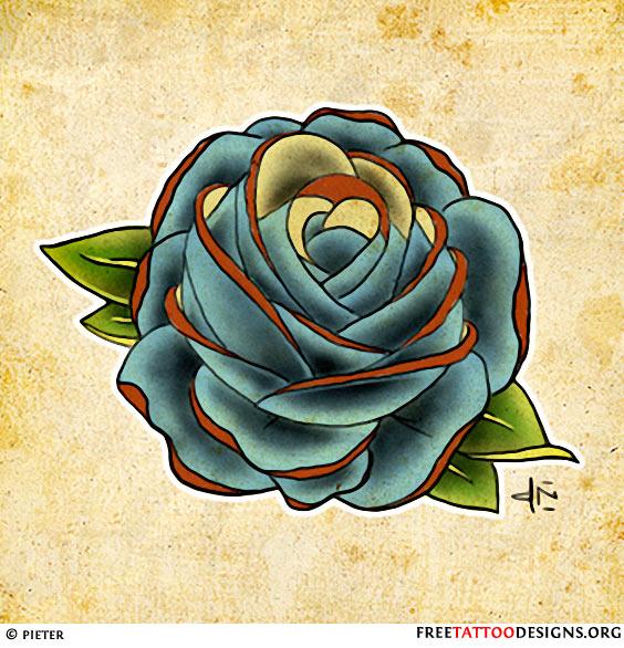 Blue Rose Sketch For Tattoo Design