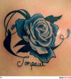 Remarkable Blue Rose Tattoo Design