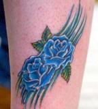 Blue Rose Tattoo Design on Forearm Ideas