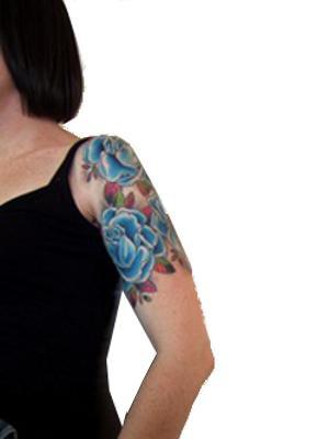 Astonishing Blue Rose Tattoo Design on Half Sleeve