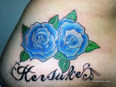 Cute Blue Rose Tattoo Design