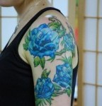 Blue Rose Tattoo Design on Half Sleeve