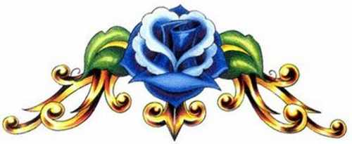 Blue Rose Sketch Tattoo for Back