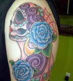 Mexican Sugar Skull Maiden with Blue Roses Tattoo Ink Art