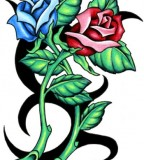 Red and Blue Rose Tattoo Design Ideas
