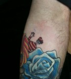 Blue Rose with Clown Tattoo Design