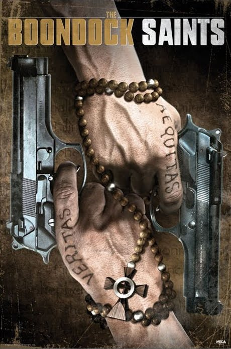Hands Holding Pistols, Bearing Veritas & Aequitas And Wrapped Into A Beaded Rosary Cross