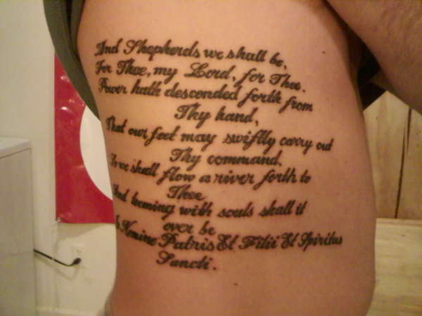 The Complete Boondock Saints Prayer On The Ribs Inked In Simple And Clearly Readable Font