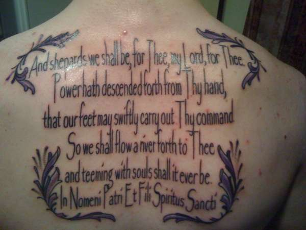 Upper Back Boondock Saints Prayer Framed Within Sweet Dark Shade Leafy Patterns On All Four Corners