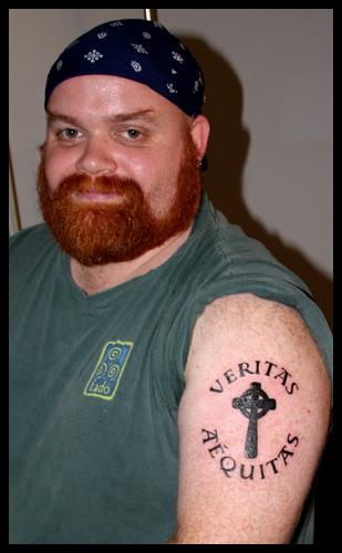 Left Arm Boondock Saints Tall Celtic Cross Tattoo