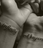 Matching Tattoos - Wrist Lettering Tattoo