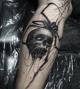 brandon_herrera-spider-skull-tattoo
