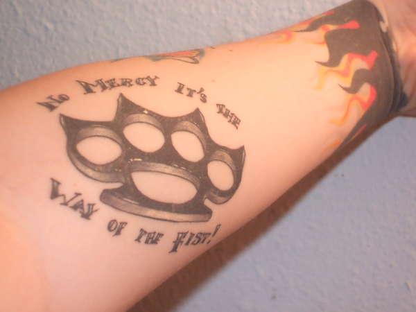 Brass Knuckles Tattoo – Arm Black White Tattoo