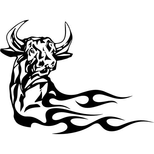 Fired Tribal Bull Head Tattoo Style