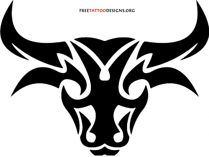 Tribalized Bull Head Tattoo Art
