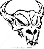 Skull of Bull Head Tattoos Design