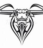 Wild Bull Head Tribals Tattoo Design