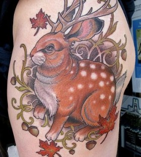 bunny-with-antlers-autumn-inpired-tattoo