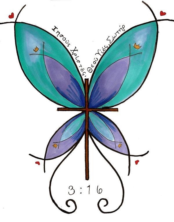 Bright Butterfly Cross Tattoo Design by Appleautumn on Deviantart